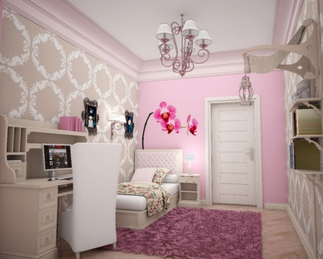 chambre dado fille branches 6 - Belle Chambre Fille