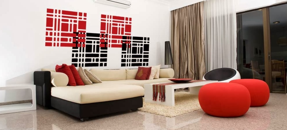 Decoration salon moderne gris et rouge - Deco salon gris rouge ...