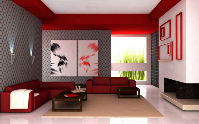 salons modernes 2015 rouge 2