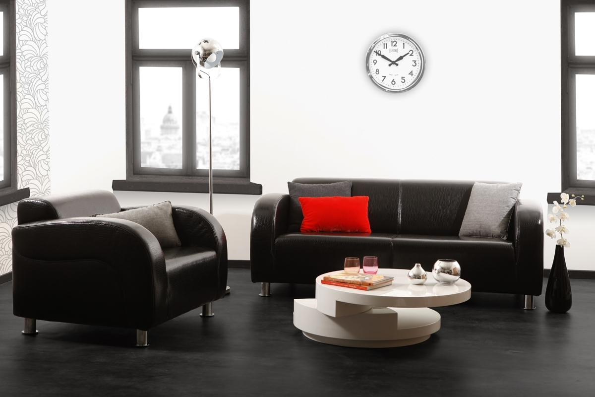 Salon moderne enrouge - Deco salon design gris ...