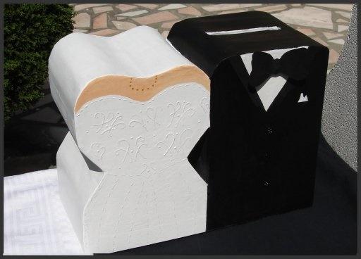 Belle Urne de mariage 2015 fait main sous forme de mari et femme
