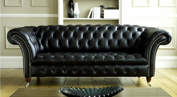 canap s en cuir noir d co. Black Bedroom Furniture Sets. Home Design Ideas