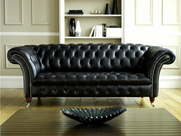 canap s en cuir noir d co. Black Bedroom Furniture Sets. Home Design Ideas