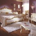 Chambre à coucher de luxe Doré-Blanc cassé