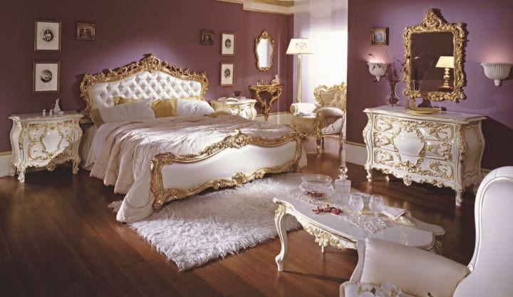 chambre coucher de luxe dor blanc cass. Black Bedroom Furniture Sets. Home Design Ideas