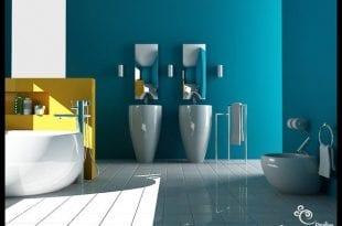 Décoration d'intérieur: La Collection Sales de Bain - Sale de bain Bleu-Jaune