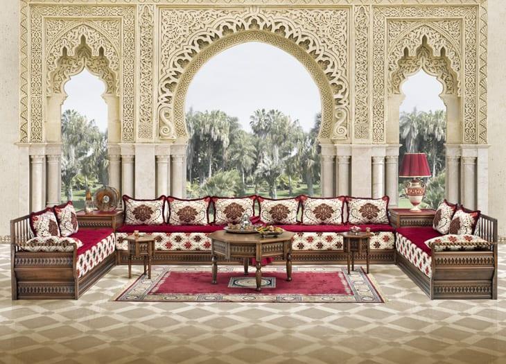 salon gris rouge marron traditional moroccan living room - Decoration Salon Moderne 2013 En Marron