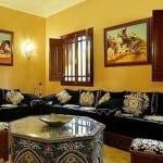 Salon marocain Noir-Blanc cassé