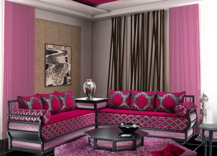 Salon marocain Rose-Rose indien-Gris