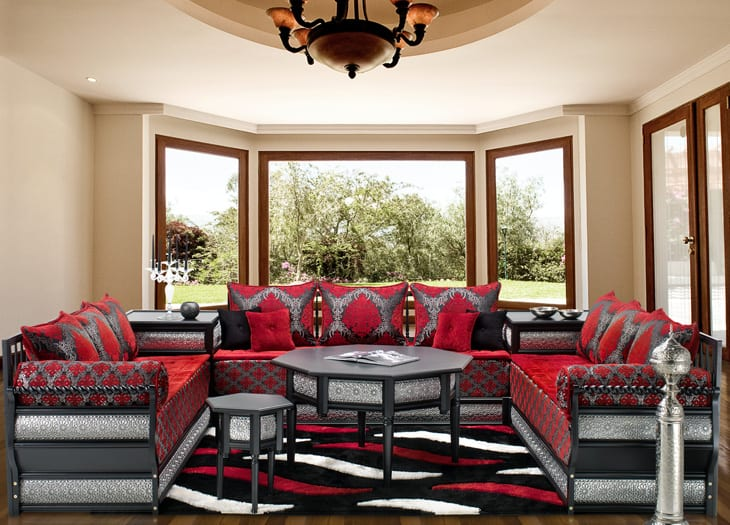 salon marocain rouge blanc cass gris noir. Black Bedroom Furniture Sets. Home Design Ideas