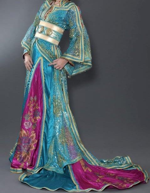 Caftan Bleu-Rose et touches Dorées