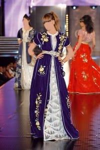 Caftan Marocain Bleu-Blanc-Jaune