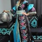 Caftan Marocain Bleu-Noir-Rose-Mauve