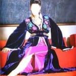 Caftan Marocain Bleu-Rose