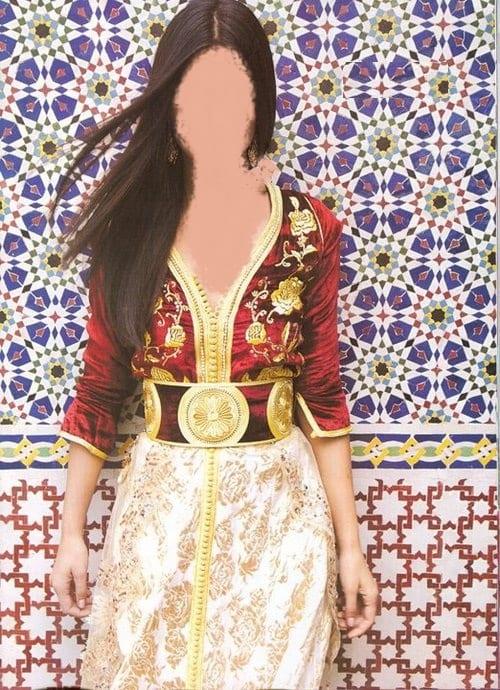 Caftan Marocain Rouge-Doré (Tuba)