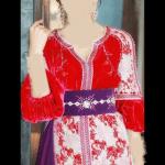 Caftan Marocain Rouge-Mauve