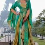 Caftan Marocain Vert-Doré 2