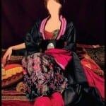 Caftan Noir-Rose indien