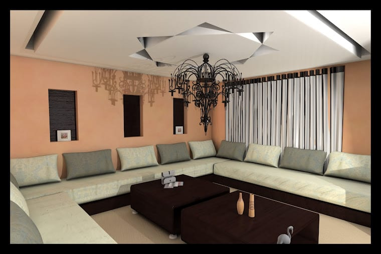Salon marocain design 14 for Faux plafond salon simple