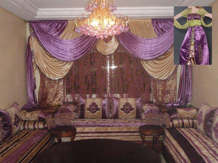 salon marocain gris et violet images. Black Bedroom Furniture Sets. Home Design Ideas