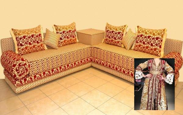 Salon Marocain Rouge Et Orange : Tlamet brocard rouge