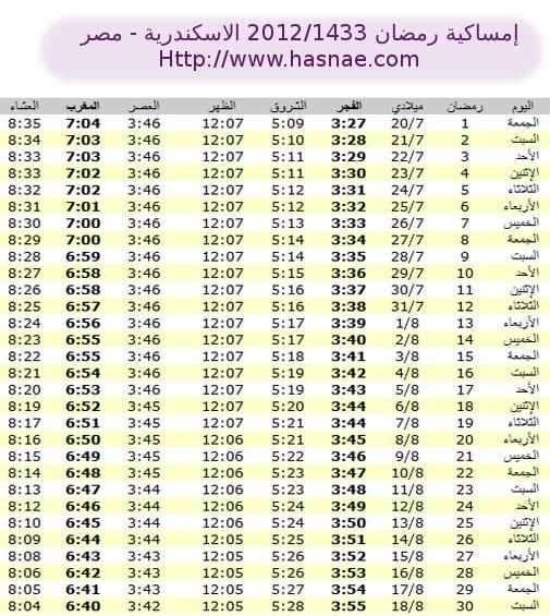 إمساكية رمضان 2012 الاسكندرية - مصر