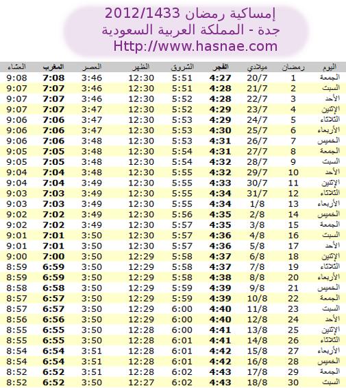 إمساكية رمضان 2012 جده - المملكة العربية السعودية