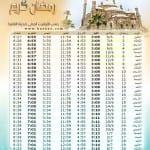 إمساكية رمضان 2016 - 1437 في العالم العربي - 8