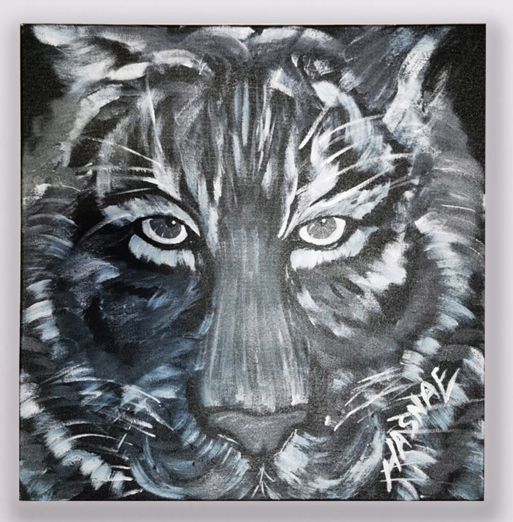 Black and White Tiger Painting 1