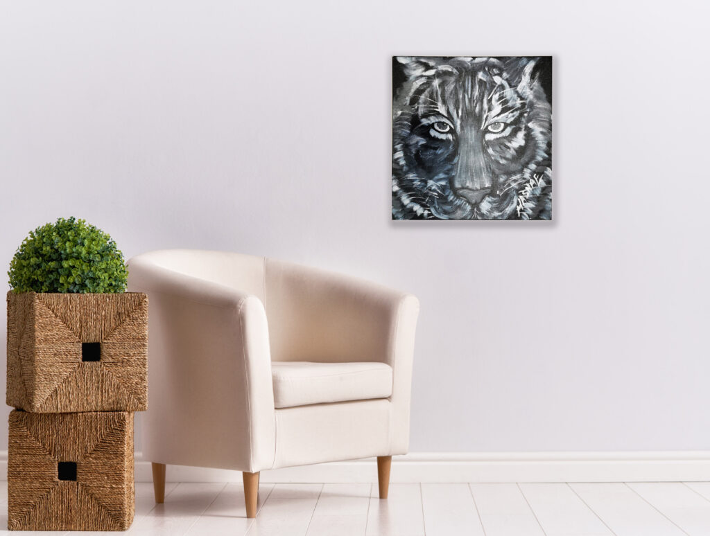 Black and White Tiger Painting