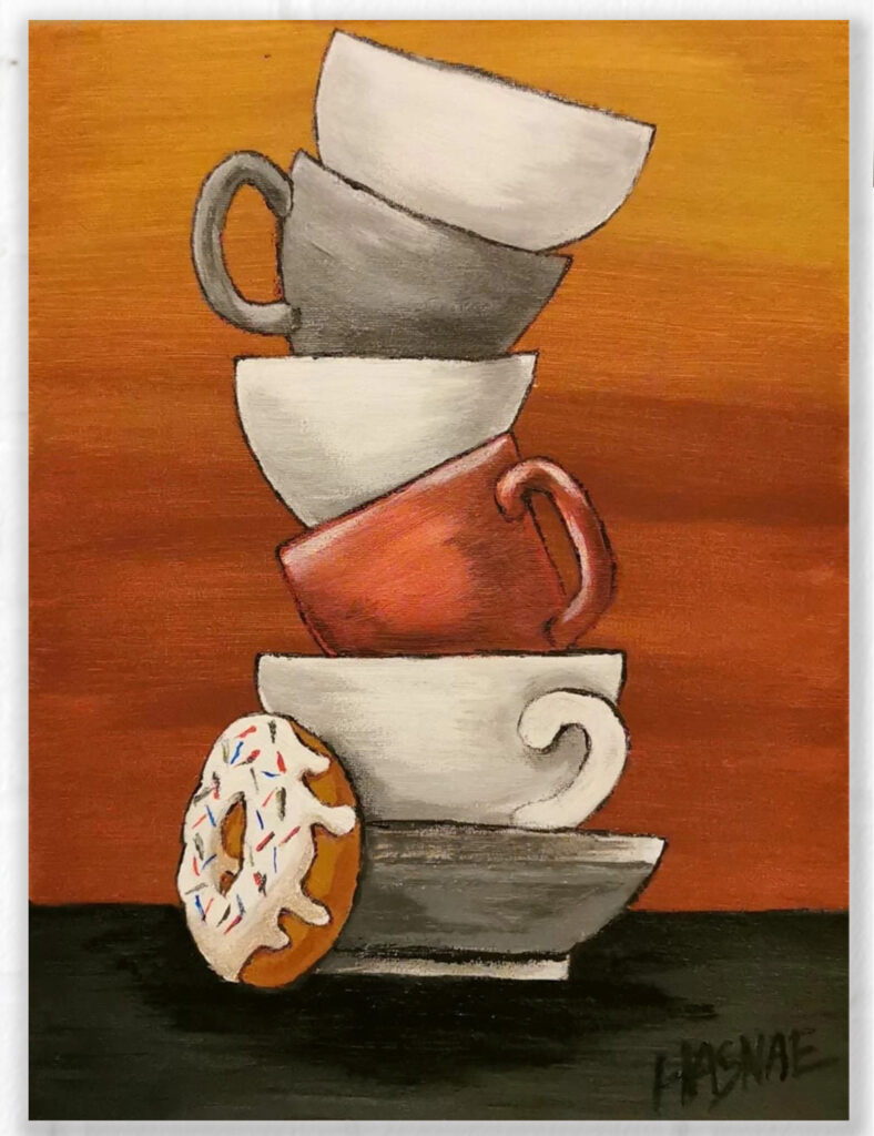 Acrylic Painting Breakfast cups 1