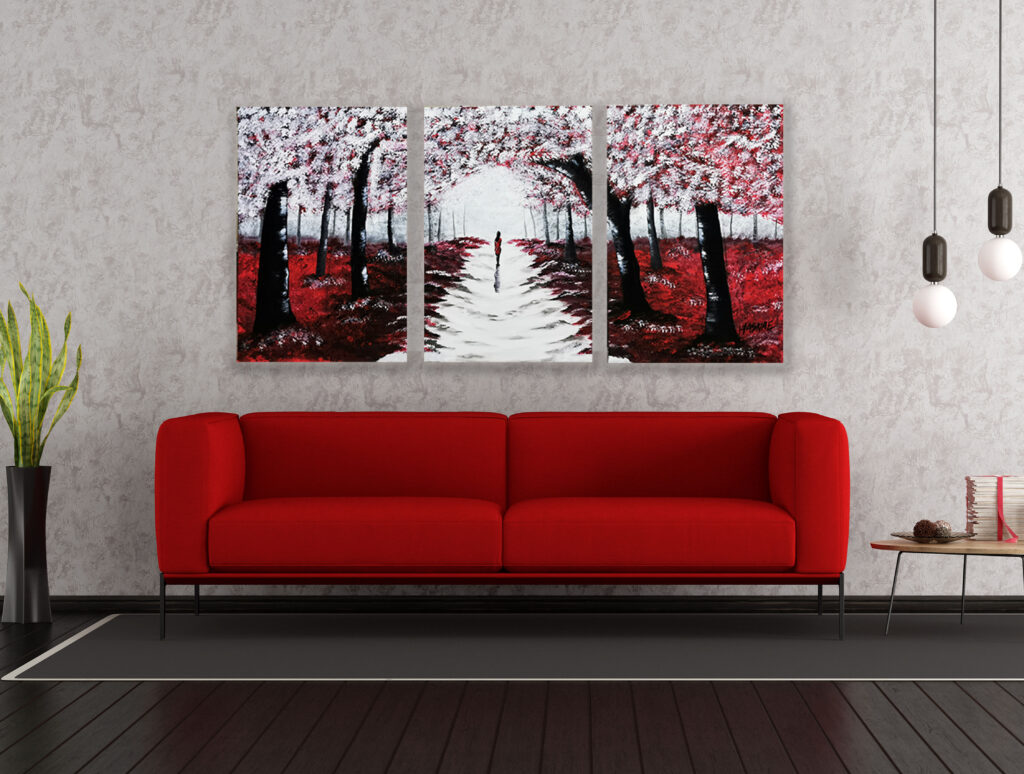 Acrylic Painting Red Forest