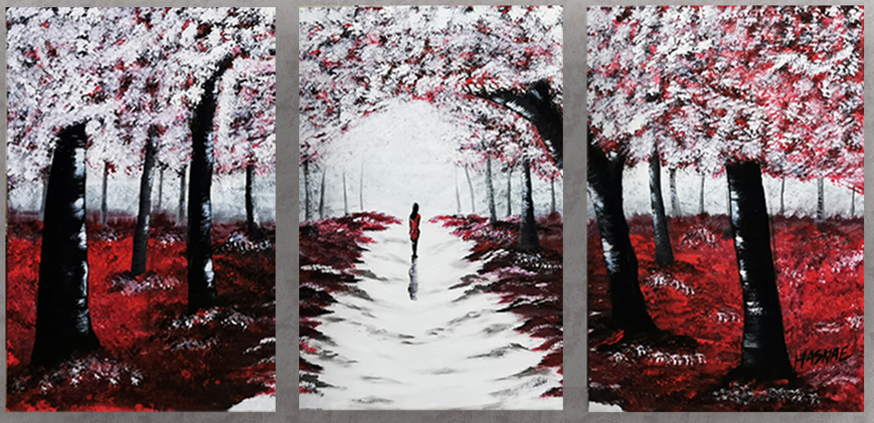 Acrylic Painting Red Forest 1