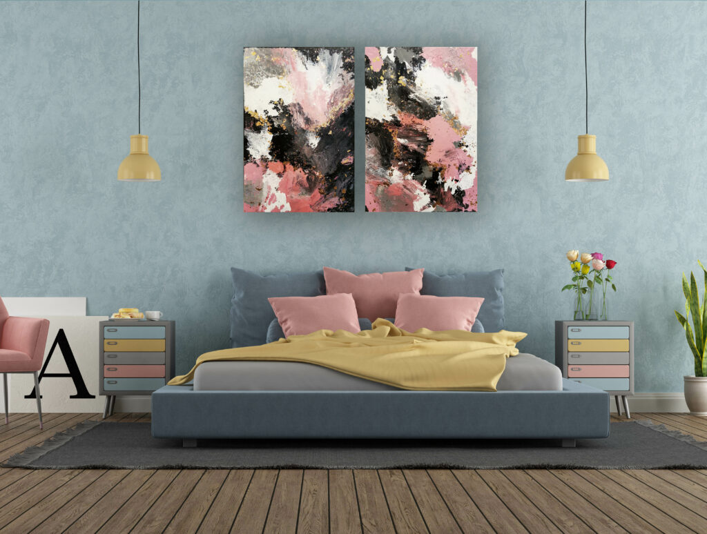 Acrylic Painting Abstract Pink with Gold