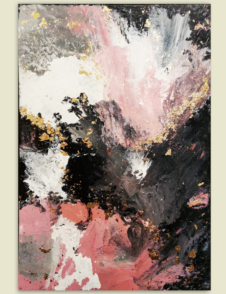 Acrylic Painting Abstract Pink with Gold 1