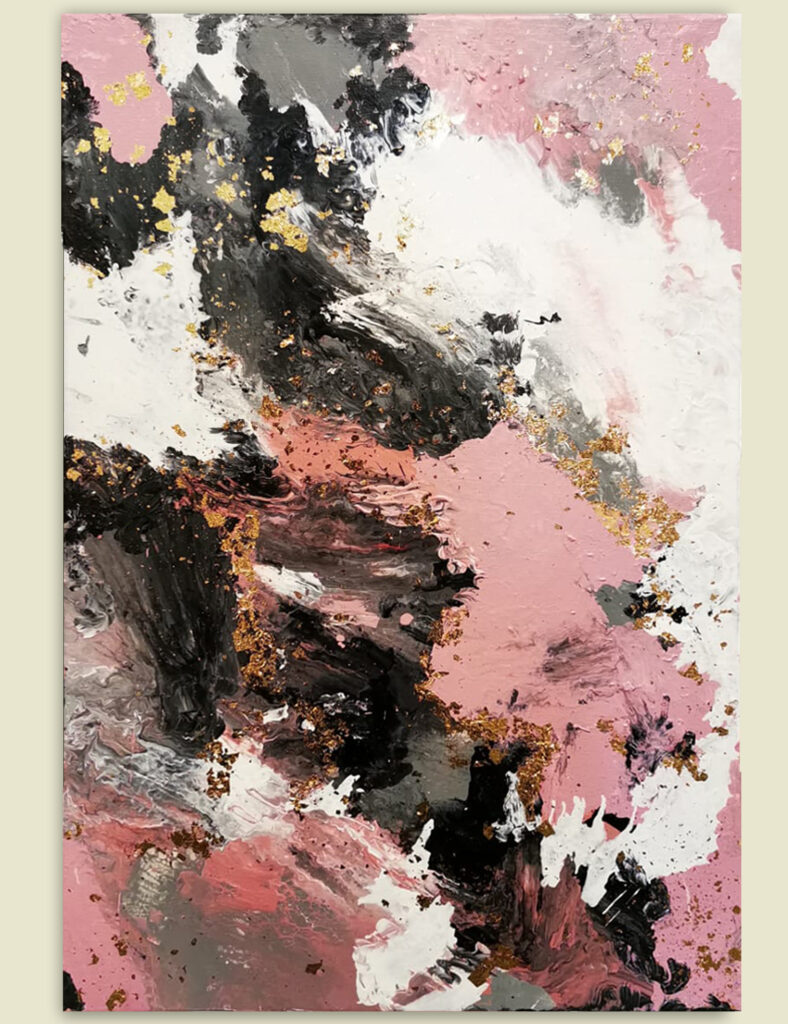 Acrylic Painting Abstract Pink with Gold 2