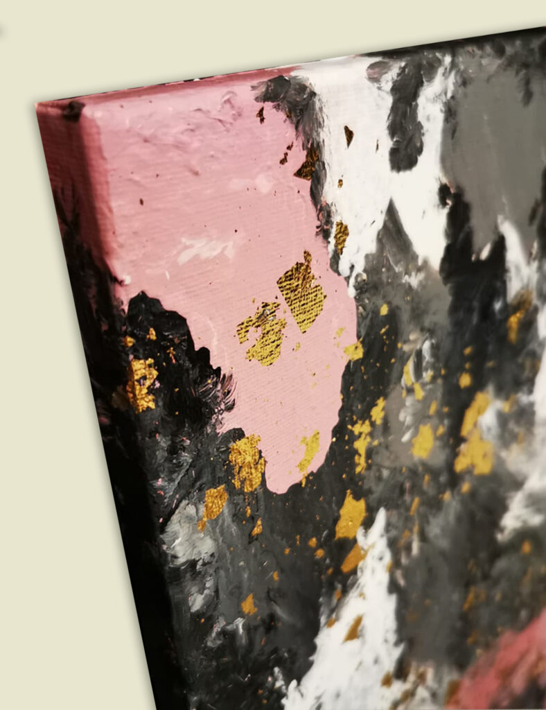 Acrylic Painting Abstract Pink with Gold 3